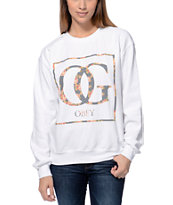 Obey Women's Boxed OG Floral White Throwback Crew Neck Sweatshirt