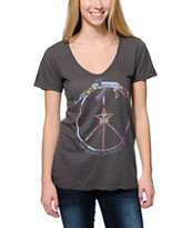Obey Women's Broken Gun Charcoal V-Neck Tee Shirt
