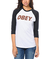 Obey Women's Cheetah Font White & Black Baseball Tee Shirt