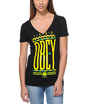 Obey Women's Colours Black V-Neck Tee Shirt