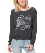 Obey Women's Coup D'Etat Charcoal Raglan Top