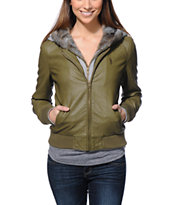 Obey Women's Danger Zone Green Hooded Faux Leather Jacket