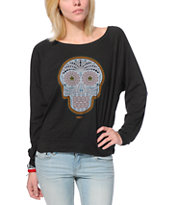 Obey Women's Day Of The Dead Color Charcoal Raglan Top