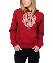 Obey Women's Day Of The Dead Garnet Red Pullover Hoodie