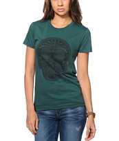 Obey Women's Day Of The Dead Green Tee Shirt