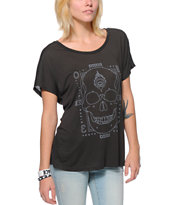 Obey Women's Death Hallucinations Charcoal Modern Dolman Tee Shirt