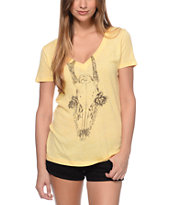 Obey Women's Deer Skull Yellow V-Neck Tee Shirt