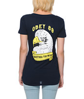 Obey Women's Destroy The Weak Navy V-Neck Tee Shirt