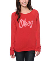Obey Women's Dewallen Script Red Knit Crew Neck Sweatshirt