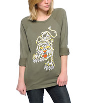 Obey Women's Eden Embroidered Tiger Olive Crew Neck Sweatshirt