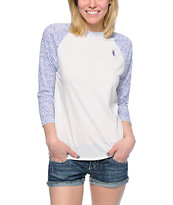 Obey Women's Edie White & Blue Leopard Print Raglan Top