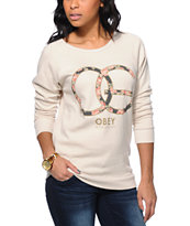 Obey Women's Emporium Heather Stone Vandal Crew Neck Sweatshirt