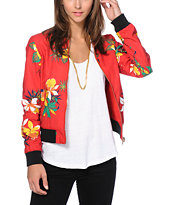 Obey Women's Fast Times Red Print Reversible Bomber Jacket