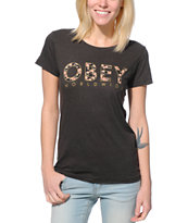 Obey Women's Floral Worldwide Charcoal Tee Shirt