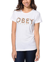 Obey Women's Floral Worldwide Natural Tee Shirt