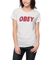 Obey Women's Font Heather White Tee Shirt