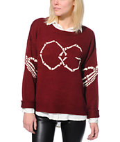Obey Women's Got Cha Burgundy Sweater