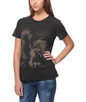 Obey Women's Hawk Attack Black Back Alley Tee Shirt
