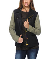 Obey Women's Hearst Black & Army Green Faux Leather Jacket