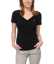 Obey Women's High Fashion Black V-Neck Tee Shirt