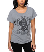 Obey Women's Living In The Darkness Grey Dolman Tee Shirt