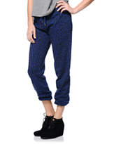 Obey Women's Lola Cobalt Blue Animal Print Sweat Pants