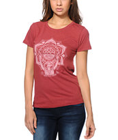 Obey Women's Lotus Woman Red Tri-Blend Tee Shirt