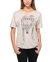 Obey Women's Lupus Spiritus Beige Destroyed Tee Shirt