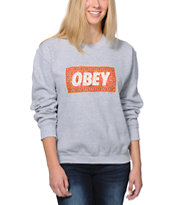 Obey Women's Magic Carpet Grey Throwback Crew Neck Sweatshirt