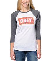 Obey Women's Magic Carpet White & Charcoal Baseball Tee Shirt