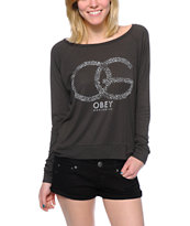 Obey Women's OG Cheetah Charcoal Raglan Top