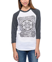 Obey Women's Peace Poster White & Charcoal Baseball Tee Shirt