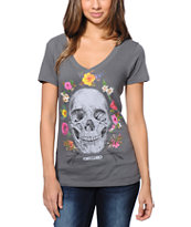 Obey Women's Reincarnation Grey V-Neck Tee Shirt