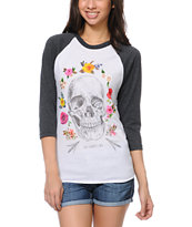 Obey Women's Reincarnation White & Charcoal Baseball Tee Shirt