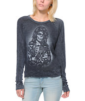 Obey Women's Rocker Black Raglan Top