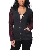 Obey Women's Rydell Charcoal & Burgundy Fleece Varsity Jacket