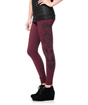 Obey Women's Secrets Burgundy Printed Leggings