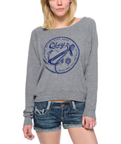 Obey Women's Tyranny On the High Seas Grey Raglan Top