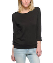 Obey Women's Wakefield Black Open Back Crew Neck Sweatshirt