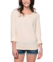 Obey Women's Wakefield Ivory Open Back Crew Neck Sweatshirt