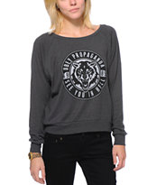 Obey Women's Wolf Patch Charcoal Raglan Top