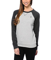 Obey Womens Lofty Mountain Grey & Graphite Crew Neck Sweatshirt