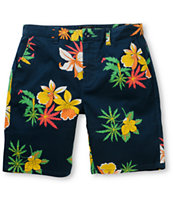 Obey Working Man II Navy Floral Shorts