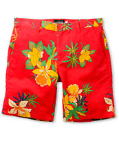 Obey Working Man II Red Floral Shorts