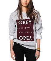 Obey Worldwide Block Grey Crew Neck Sweatshirt