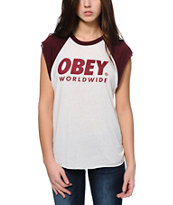 Obey Worldwide Family Natural & Burgundy Cut Off Tee Shirt