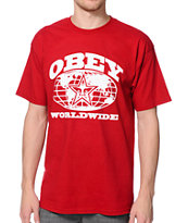Obey Worldwide Red Tee Shirt