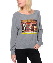 Obey x Cope2 Poster Heather Grey Girls Raglan Top