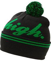 Odd Future Domo High Black & Green Pom Fold Beanie