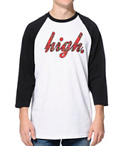 Odd Future High Plaid Black & White Baseball Tee Shirt